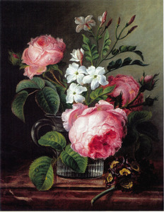 Een stilleven met rozen en narcissen in een bekerglas, samen met een takje van een sleutelboem op een marmeren blad