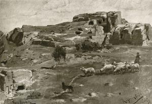 Herder met schapen bij kasteelruïne Regenstein