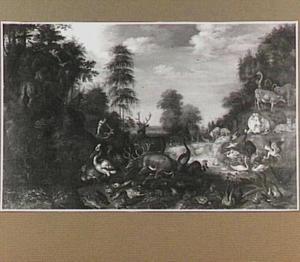 Landschap met dieren; op de achtergrond Kaïn, die Abel  doodt (Genesis 4:8)