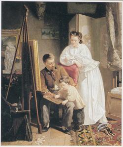 De zoon van de kunstenaar leert schilderen van zijn vader in het atelier