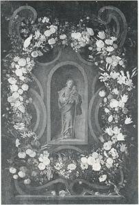 Cartouche met bloemenkrans rondom een nis met standbeeld van de Maagd Maria met het Christuskind
