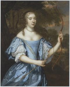 Portret van een onbekende vrouw in een blauwe japon als Diana, met pijl en boog