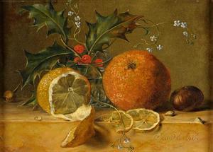 Stilleven met vruchten op een plint