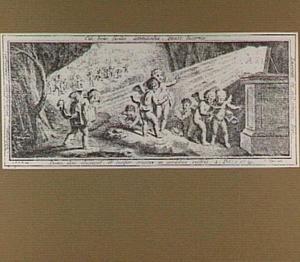 Putti met Bijbels in de duisternis, door een openstaande Bijbel verlicht; op de achtergrond: het einde van de duisternis (2 Petrus 1:19)
