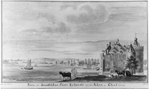 De ruïne van kasteel Byland (ook Huis Halt) vanuit het noorden, met Kleef in het verschiet