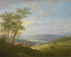 Gezicht op het  dal van de  Isar bij Ebenhausen