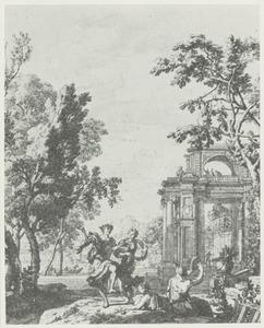 Dansende herder en herderin bij een poortgebouw