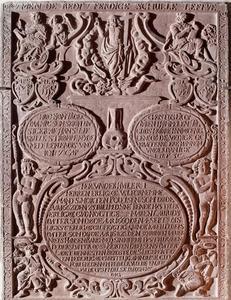 Epitaaf voor Morten Poulsen (†1662) en zijn echtgenotes Maren Lauridsdatter (†1660) en Karen Pedersdatter (†1682)