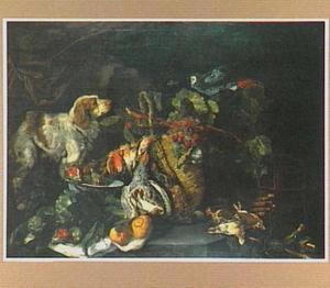Hond bij jachtbuit van gevogelte en mand met vruchten waarop een papegaai zit