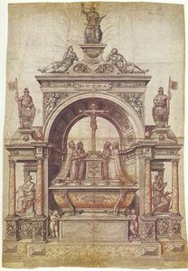 Ontwerp voor niet uitgevoerd grafmonument voor de koningen Christiaan III en Frederik II van Denemarken in de Dom te Roskilde
