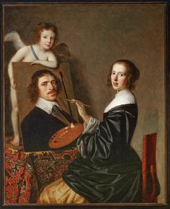 Pictura schildert het portret van de kunstenaar