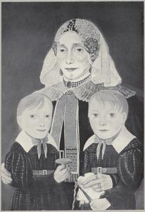 Portret van Marthjen Mulder (1796-1855) met twee kinderen, mogelijk haar kinderen Niklaas (1820-1847) en Grietje Elena (1822-1833) Borgman