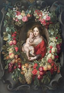 Krans van vruchten en bloemen rond een cartouche met een voorstelling van de Madonna