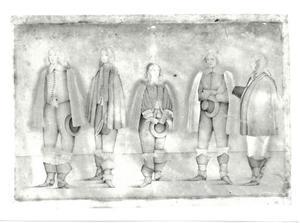 Groepsportret van mogelijk George Digby (1612-1677) een man genaamd Ber, een man genaamd Craft , waarschijnlijk George Goring (1608-1657) en een onbekende man