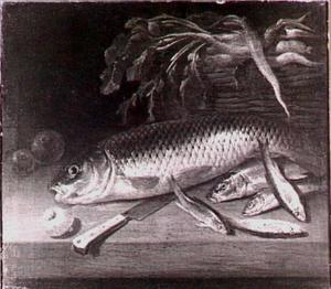 Vistilleven met wortels in een mand