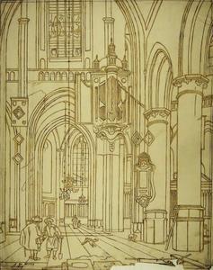 Kerkinterieur met motieven van de Oude Kerk en de Nieuwe Kerk in Amsterdam