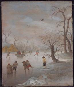 Schaatsende en sleeënde figuren op een bevroren sloot