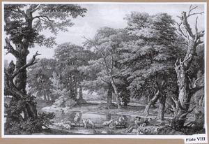 Boslandschap met schaapherder bij beek
