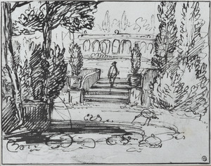 Parklandschap met motieven uit het amfitheater in Kleef