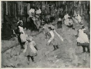 Straatbeeld met touwtje springende kinderen