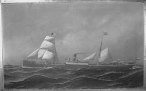 Het stoomschip 'Edam' van de Nederlandsch Amerikaansche Stoomvaartmaatschappij