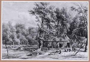 Boslandschap met huisje, schuur en houthakkers