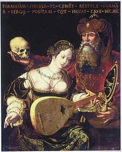 Allegorie van de vergankelijkheid: een jonge luitspelende vrouw met een oude man met spiegel en doodshoofd