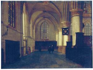 Interieur van een kerk, mogelijk de Nieuwe Kerk in Delft