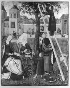 Maria, Anna, het Christuskind, Joachim en Jozef verzamelen vruchten van een boom