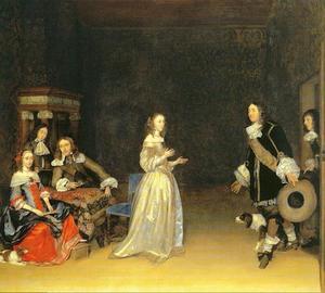 Elegant gezelschap in een interieur, met een jonge vrouw die een man ontvangt