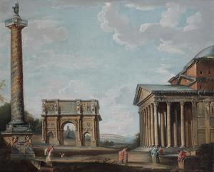 Capriccio met de zuil van Trajanus, de boog van Constantijn en het Pantheon