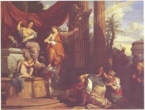 Priamus en zijn familie vragen aan Iris om te bemiddelen bij Juno voor de teruggave van Hectors lichaam