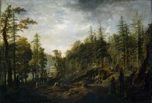 Gezicht op het kuuroord Augustusbad nabij Radeberg