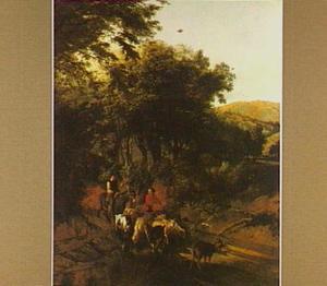Boslandschap met twee herders en hun dieren bij een doorwaadbare plaats