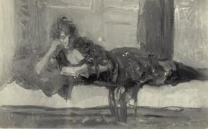 Lezende dame op divan