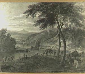 Rivierlandschap met boeren en vee op de oever