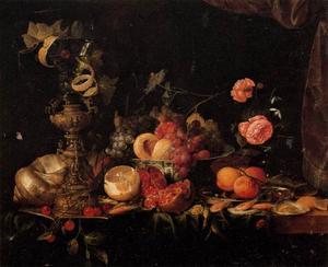 Stilleven met fruit en roemer