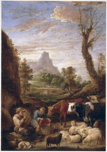 Landschap met boeren en vee