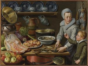 Jonge vrouw en jongen bij een tafel met vis, vlees, groenten, porselein, aardewerk en  koperen ketels