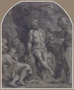 Job op de mestvaalt, door zijn vrouw en zijn vrienden bezocht (Job 2:9-13)