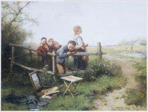 Kinderen bij een schilderdoos met palet