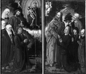 Twee luiken met schenkers met Johannes de Doper, H. Elisabeth van Hongarije, een vrouwelijke heilige en de heilige drieëenheid  (links); schenkers met de HH Petrus en Thomas (rechts)