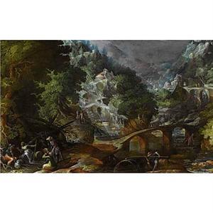 Gezicht op een boslandschap in een ravijn met vele bruggen