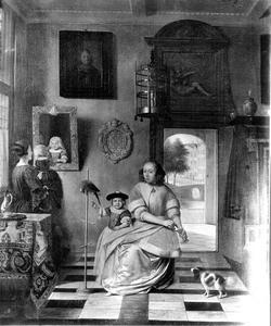 Interieur met twee vrouwen, twee kinderen en een papegaai