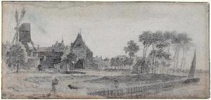 Gezicht op Schoonhoven met de Vrouwepoort (Vrouwenpoort), molen en torentje van het stadhuis