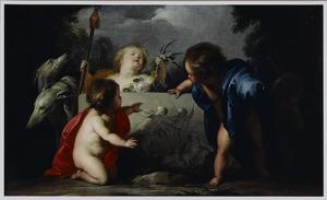 Vier putti en twee windhonden bij een bas-reliëf met een voorstelling van Venus en Adonis