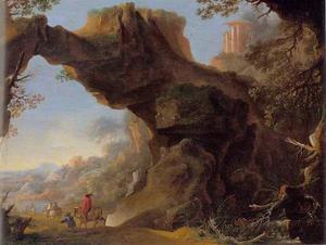 Italiaans landschap met rotsboog en ruiters