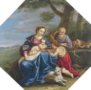 De Heilige Familie en Johannes de Doper als kind in een landschap