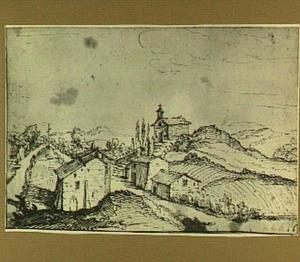 Zuidelijk heuvellandschap met een kerk