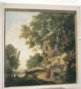 Klassiek arcadisch landschap met rond bouwwerk